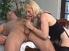 Aged blonde mature does hot blowjob in dining room